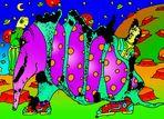 Der Monddinofant, der Monddinofant, steht reglos im gelb-grünen Mondensand.