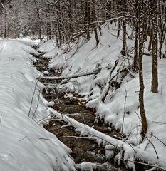 Der Mühlbach beim Stift Rein im tiefsten Winter zu Ostern!