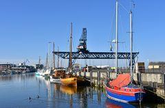 Der Museumshafen von Rostock im Februar 2021