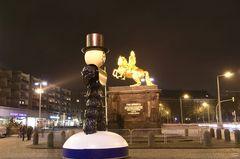 Der Pflaumentoffel wünscht dem Goldenen Reiter frohe Weihnachten