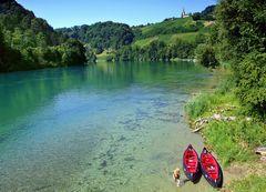 Der Rhein in der Gegend von Rüdlingen, Schweiz/ River Rhein in the Vicinity of Rüdlingen
