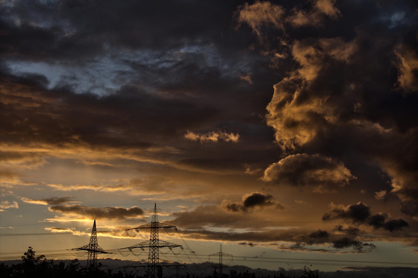 Der Sonnenuntergang über Langenfeld
