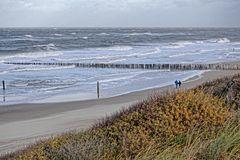 Der Strand von Domburg (Zeeland, NL) vom Dünenkamm aus gesehen