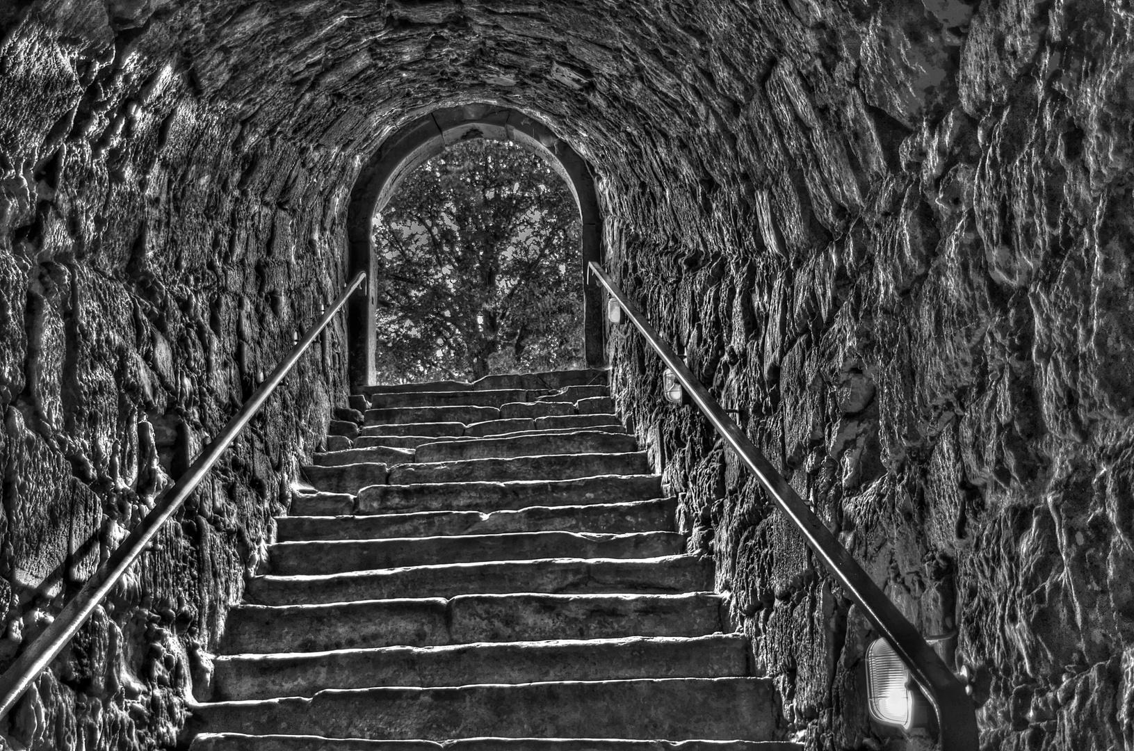 Der Treppenaufgang nochmal in SW