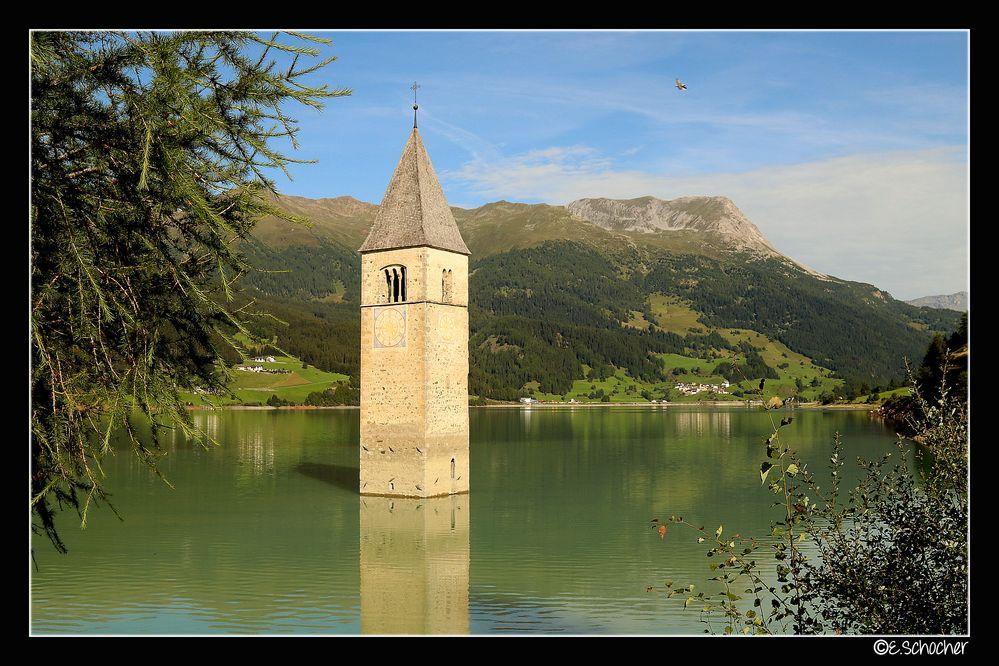 Der Turm von Graun am Reschenpass
