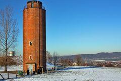 Der Wasserturm von Dohna, von dem wir nur das Dach von unserer Wohnung sehen