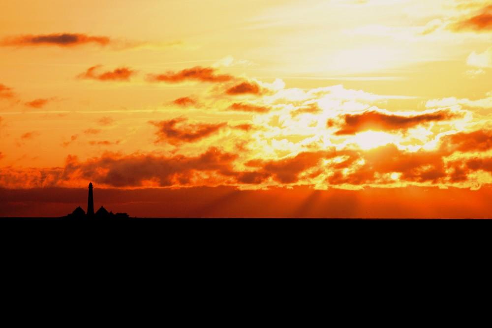 der Westerhever Leutturm bei Sonnenuntergang