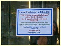 der Zeit voraus ? 2008 Karstadt in Solingen geschlossen !