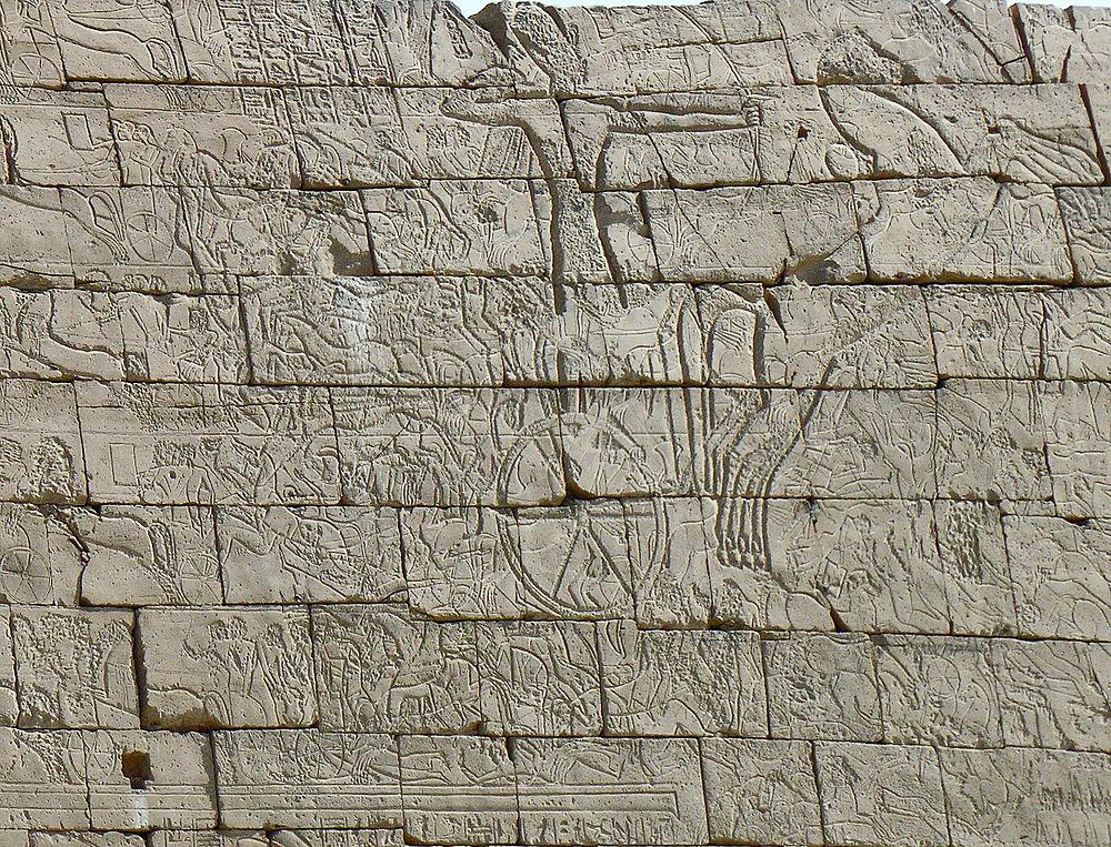 Detailausschnitt vom 1. Pylon Westseite im ersten Hof vom Ramesseum...