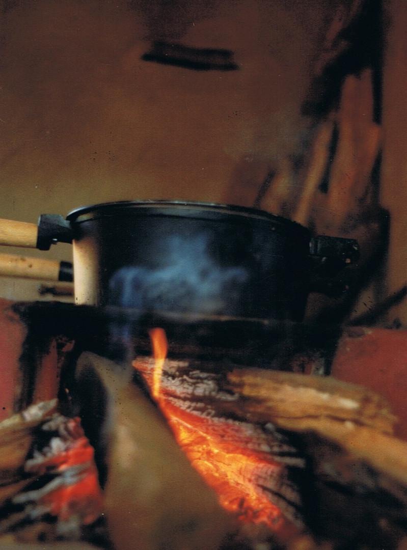 detalhe de fogão a lenha
