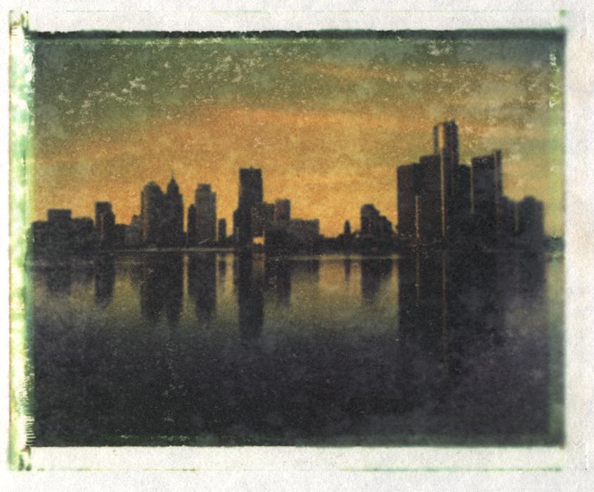 Detroit Skyline auf Aquarellpaier