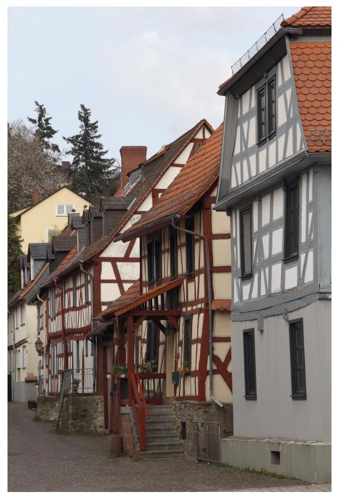 die Altstadt in Idstein besteht aus gepflegten Fachwerkhäusern