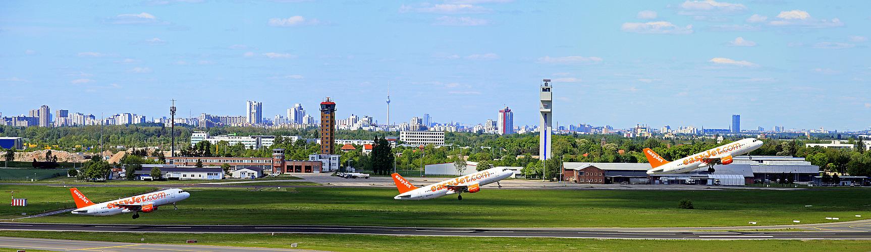 Die Berlin Skyline vom BER aus gesehen ......