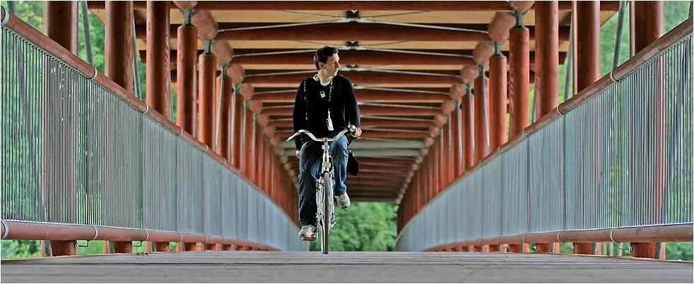 Die Brücke und der Fahrradfahrer