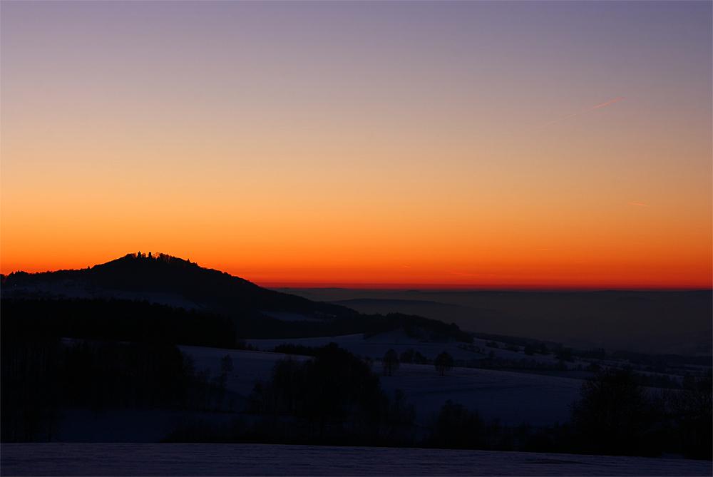 Die Ebersburg im Abendrot