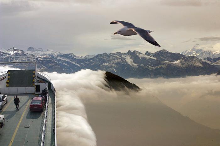 Die erste Autofähre über die Alpen