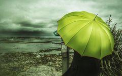 Die Frau mit dem Regenschirm (111), wagt einen Blick!