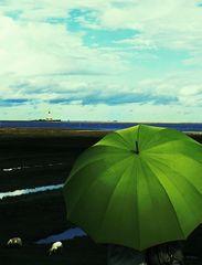 Die Frau mit dem Regenschirm erreicht Westerhever (91)