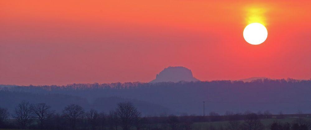 Die gezähmte Sonne gestern Morgen beim Lilienstein ein großartiges Erlebnis...