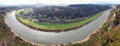 Die große Elbekurve am 29.12. 11 in sphärischer Projektion von der Bastei aus