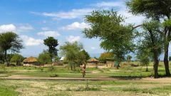 Die Hütten der Massai