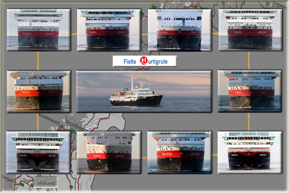 Die Hurtigrutenschiffe - frontal aufgereiht
