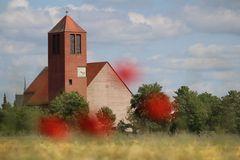 Die Kirche hinter den Wildblümchen