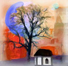 Die kleine Kapelle, der Baum und die Stadt