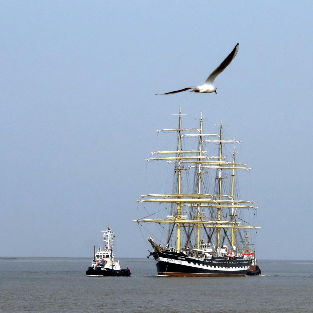 Die KRUSENSTERN läuft vor ihrer Weltumsegelung in Bremerhaven ein