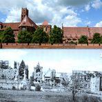 Die Marienburg nach dem Krieg 1945 und 2014