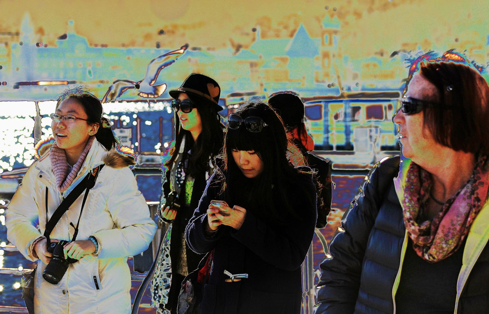 Die Möwe über den Touristen