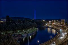 Die Saar bei Saarbrücken in der Nacht