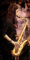 Die Saxophonspielerin