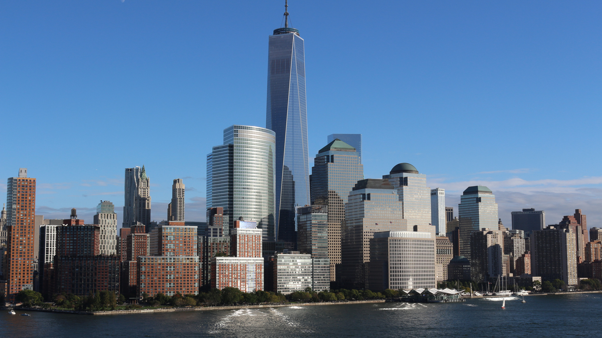 Die Skyline Von New York Mit Dem Neuen Freedom Tower Foto Bild