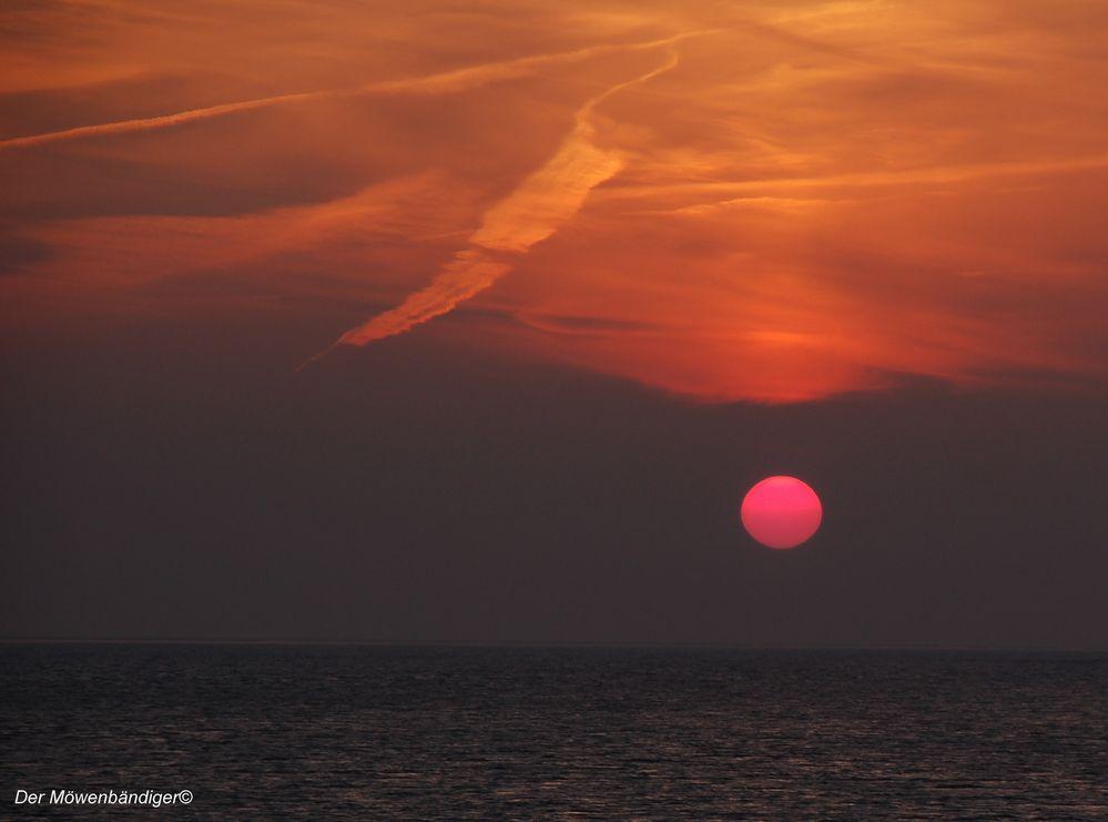 Die Sonne geht immer hinten rechts unter,wenn man in Nordfriesland am Deich steht