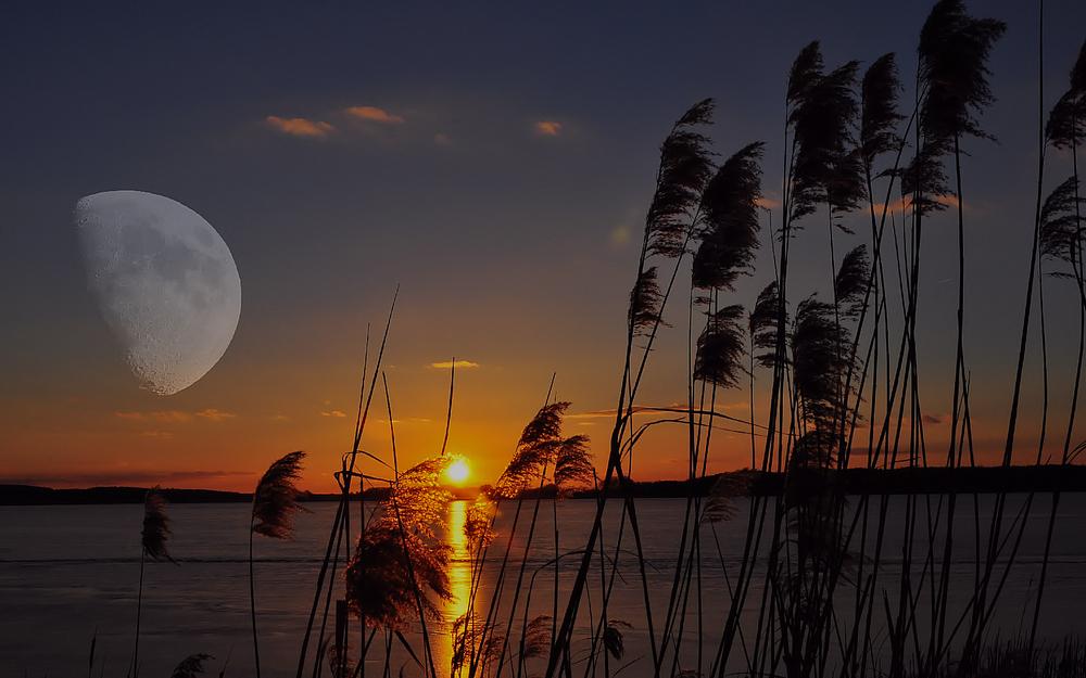 Die Sonne Geht Unter Der Mond Geht Auf Foto Bild