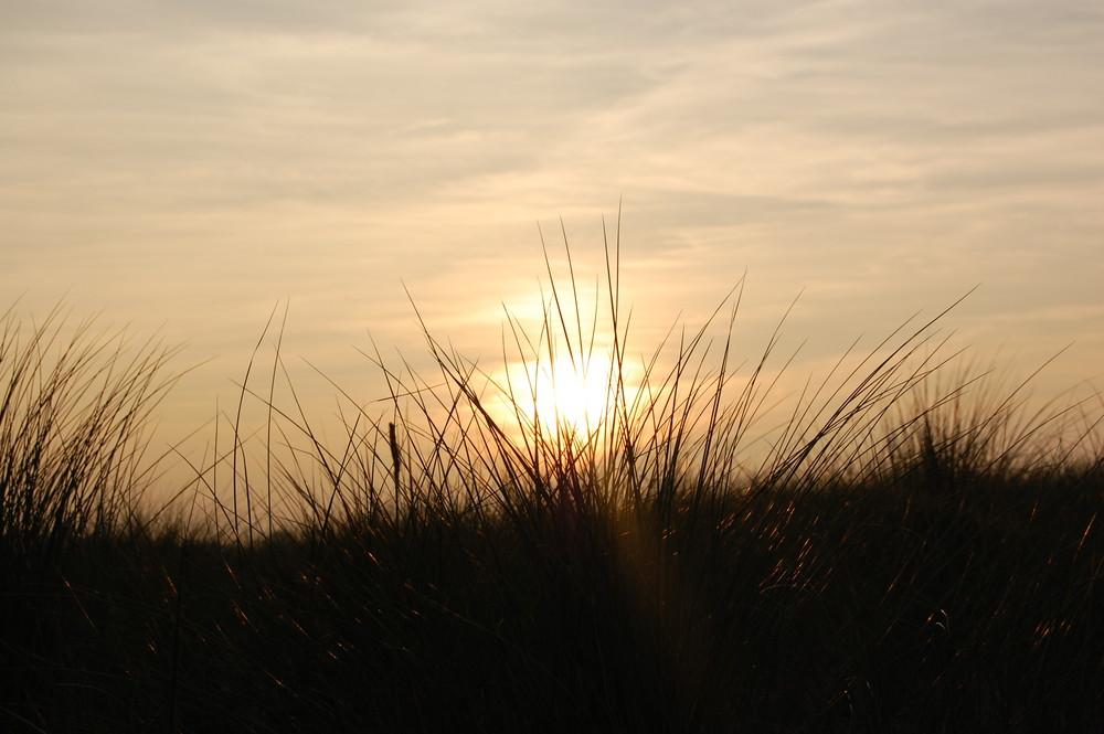 Die Sonne versteckt sich in den Dünen