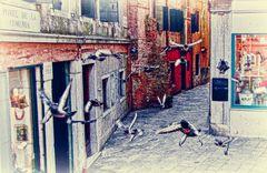 ...die Tauben verlassen den Markusplatz.....