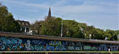 Die übersprühte neue Wand in Saarbrücken