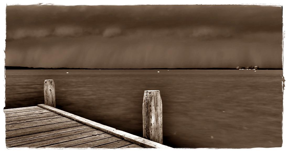 Die Unwetterfront über dem Steinhuder Meer