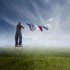 Die Wäsche hängt . . .