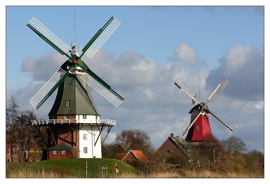 Die Zwillingsmühlen von Greetsiel ...