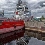 Dienstag ist Spiegeltag Foto - MS Vos Precious im Hafen