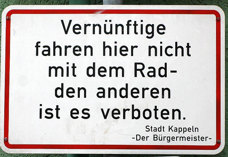 Dieses Schild steht in der Innenstadt von Kappeln ;o)