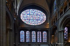Dijon - Notre Dame - Seitenschiff mit Kirchenfenstern