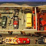 Diorama einer Autowerkstatt