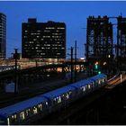 Dock  Bridge + PATH Trains at Blue Hour