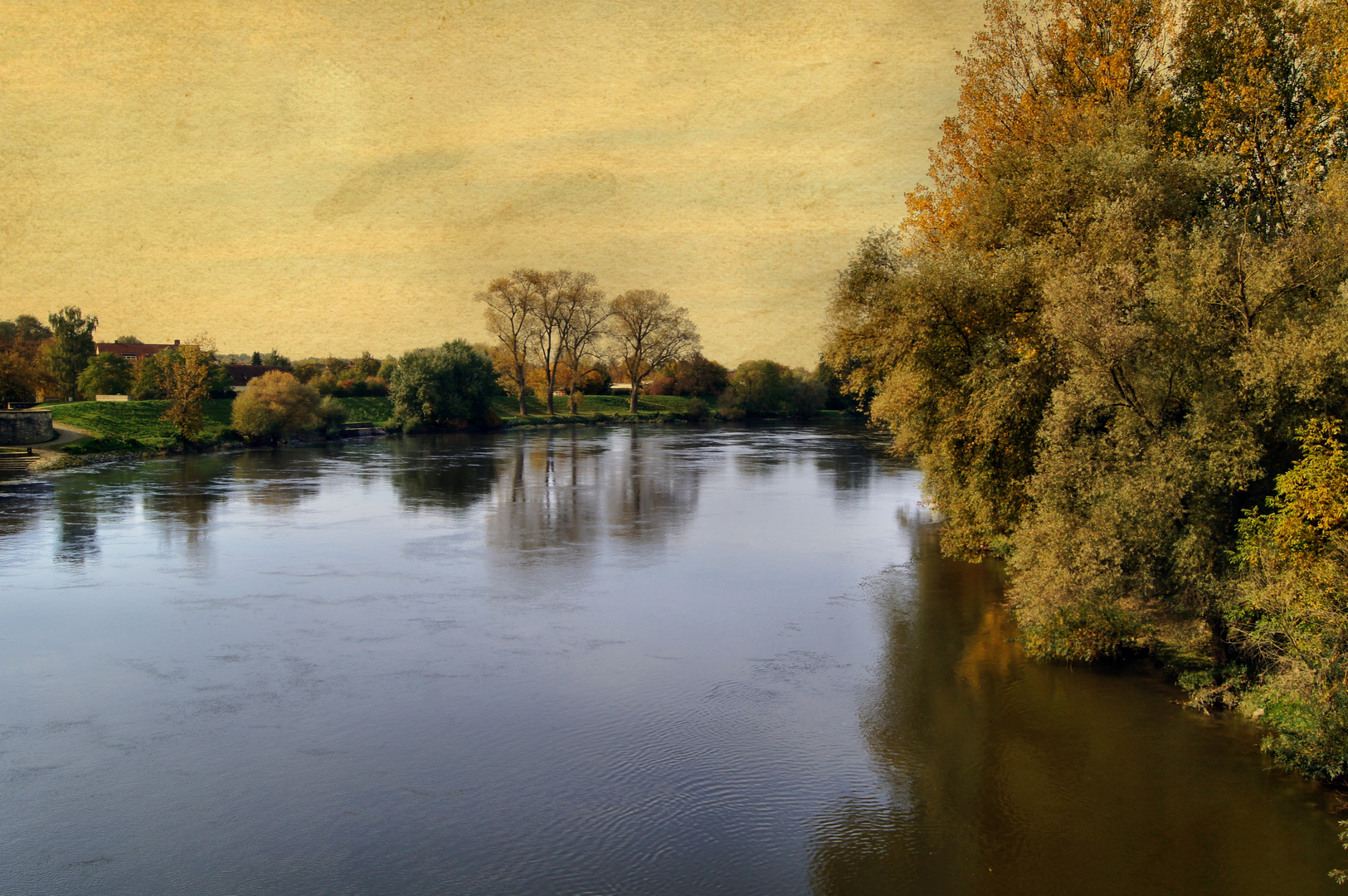 Donau bei Straubing Retro-Art