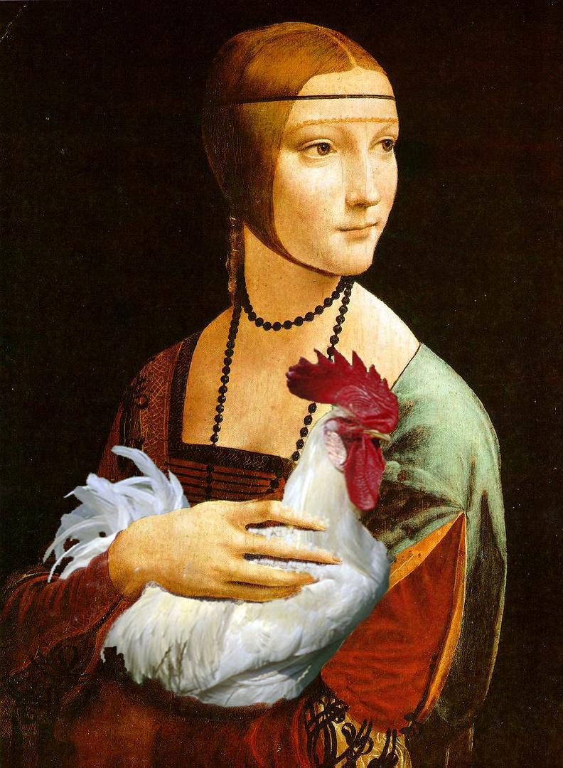 Donna con gallo