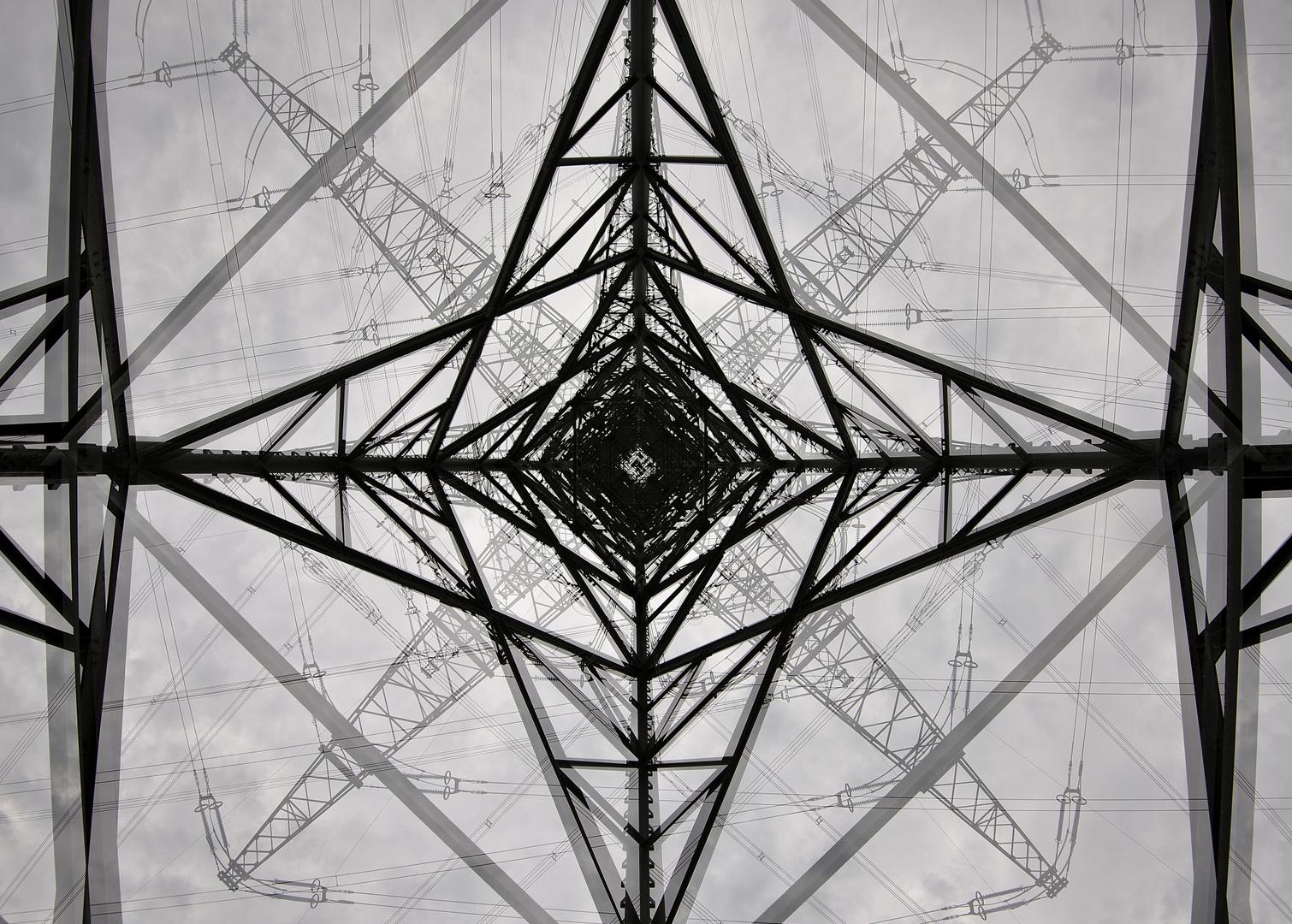 Doppelbelichtung Strommast: Zwei Bilder in einem.